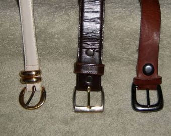 Leather Belts Vintage Fashion Craft Trunk Handles Black Brown White Dockers Removable Buckles