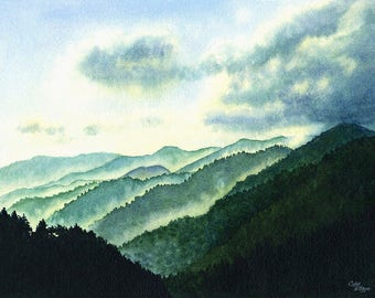 Smoky Moutains Art Watercolor Painting Print by Cathy Hillegas, 16x22 print, watercolor landscape, misty mountains art, teal green