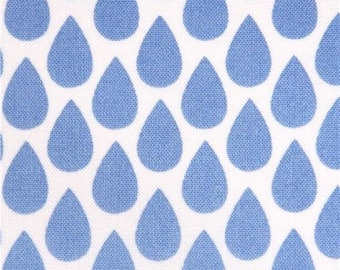 202509 white blue raindrop fabric by Michael Miller USA