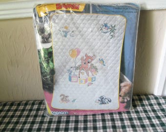 1983 Walt Disney Bambi Paragon Needlecraft Dress up Coverlet Kit # 0471  28 x 42 inches