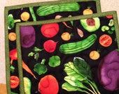 Quilted Vegetable Potholders Pair
