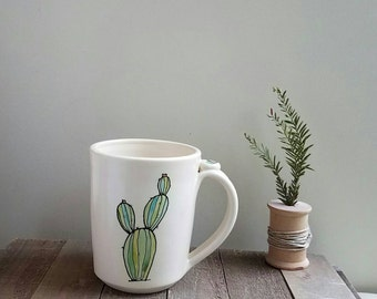 Cactus mug, green and white cactus coffee mug, hand drawn, desert cactus and succulent mug for him