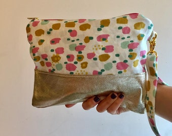 Handmade Spotty Print Clutch,  Linen and Metallic Gold Leather, Fun Disco Bag, Evening Purse, Vacation Carryall