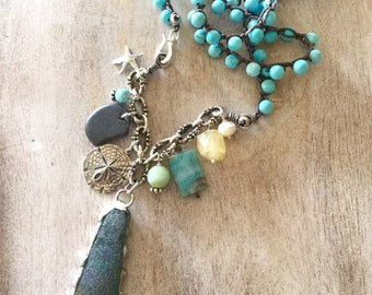 Beaded Crocheted Sea Glass Charm Layering Necklace