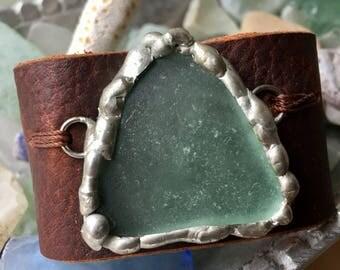 Wide Leather Sea Glass Cuff Bracelet Rustic Jewelry
