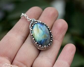 Labradorite and sterling silver necklace pendant - Argante -