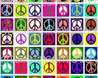 Peace Symbol Inchies Digital Collage Sheet 1x1 Inch Squares 63 Different Images Scrapbooking