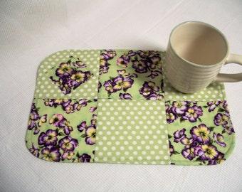 Pansies and Polka Dot Fabric Mug Rug, Snack Mat, Candle Mat, Placemat, Lavender & Green