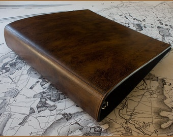US Letter Size Dark Brown Leather 3 Ring Binder, 8.5 x 11 Inch Ring Binder, Presentation Folder, Dark Brown Leather, Free Personalisation.