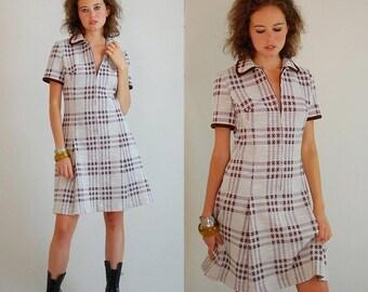 sale 25% rainy days sale Preppy Mod Dress Vintage 60s Plaid Double Knit Pleated Drop Waist Mod Dress (s m)