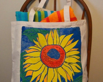 Sunflower Tote Bag, Sunflower, Tote Bag, Flower Bag, Canvas Bag, Handpainted and Printed Bag, Linocut, Hand Printed
