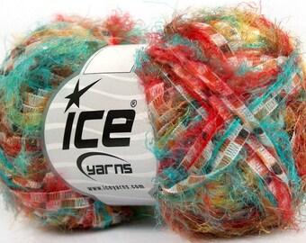 southwest. eyelash ribbon blend yarn . ice yarns 65yd . turquoise red yellow brown white multicolor fancy novelty discount yarn