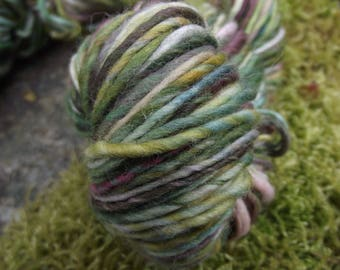 Handspun yarn, handpainted thick and thin, Organic Polwarth wool, multiple skeins available-Spring Forest