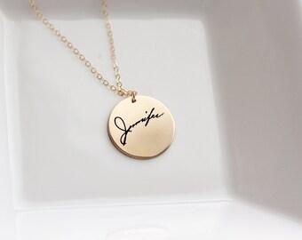Signature Necklace - Custom Handwriting Necklace, Engraved Signature Handwriting, Gift for Mom, Signature Necklace, Handwritten Engraving