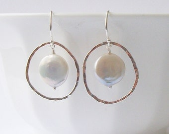 Coin Pearl Sterling Silver Earrings, Pearl Dangle Drop Earrings