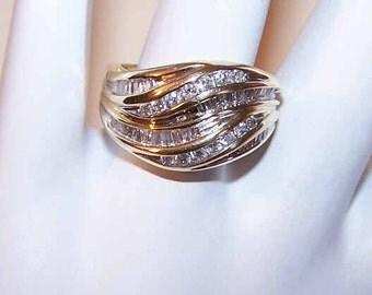 Vintage 14K Gold & 1CT TW Channel Set Diamond Ring