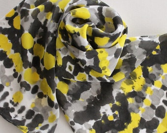 Hand Painted Silk Scarf - Handpainted Scarves Tie Dye Yellow Black White Gray Grey Bumblebee Bumble Bee Honey