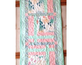 "Table Runner, 14 1/2""x36"", teal and peach table runner"