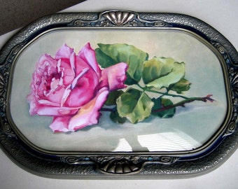 Catherine Klein, Vintage Rose, Art Print, Half Yard Long, Antique Extra Fancy Barbola Frame, Convex Glass, Shabby Chic Decor