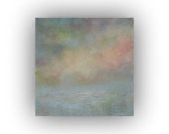 Blue Pink and Yellow Abstract Landscape- Small 12 x 12 Snow Sky and Clouds Oil Painting- Original Palette Knife Art on Canvas