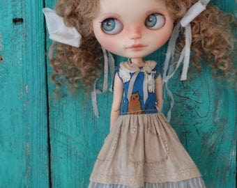 """Blythe doll OOAK outfit *Country cats"""" vintage style dress"""
