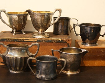 Vintage SILVER PLATED Creamer & Sugar Bowl COLLECTION- Tarnished Silver- Small Pitchers- M13