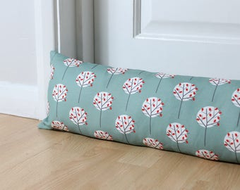 Draught Excluder Moonlight Tree Pattern Sea Green Floral Scandi Fabric