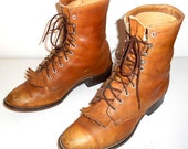 Mens 9.5 D Lace Up Cowboy Boots Laredo Tan Brown Distressed Lacers Ropers Western