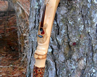 SALE - Guitar Walking Stick, Hand Carved OOAK Collectors Hiking Staff, Detailed Wood Carving, Wood Sculpture