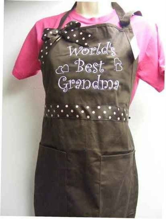 World's Best Grandma  Grandmother Apron  Can be personalized also