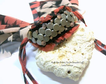 ON SALE Rock Star Fabric Bracelet Cuff  Textile Jewelry One of Kind Statement Bracelet Chevron Cuff Tie fabric bracelet