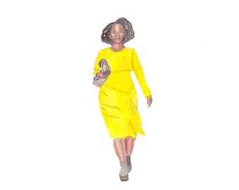 Runway fashion illustration Black Woman in Yellow dress