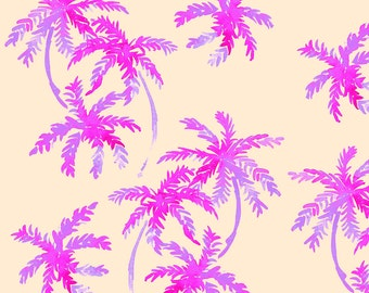 Neon Watercolor Fabric - Pink Palms By Erinanne - Neon Cotton Fabric By The Yard With Spoonflower