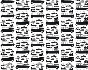 Black and White Vintage Car Fabric - Vintage Vehicles By Ellolovey - Black and White Cars Cotton Fabric By The Yard With Spoonflower