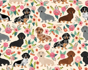 Floral Dachshund Fabric - Dachshund Floral Vintage Flowers Doxie Dog Dachshunds By Petfriendly - Cotton Fabric By The Yard With Spoonflower