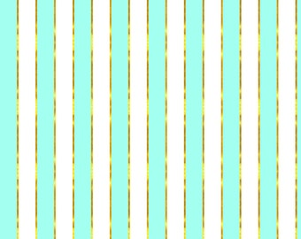 Blue and Gold Stripe Fabric - Puttin' On The Ritz Mint And Gold Stripe By Willowlanetextiles - Cotton Fabric By The Yard With Spoonflower