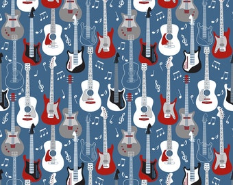 Guitars Fabric - Guitars By Mag-O - Red White and Blue Musical Instruments Cotton Fabric By The Yard With Spoonflower