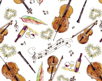 Musical Date Night Fabric - Musical Arrangement Strings By Julieprescesky - Watercolor Violin Cotton Fabric By The Yard With Spoonflower