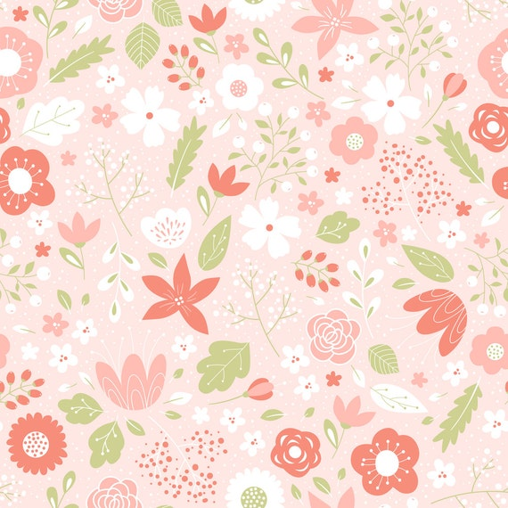 Pink floral fabric spring by innamoreva spring floral for Floral nursery fabric