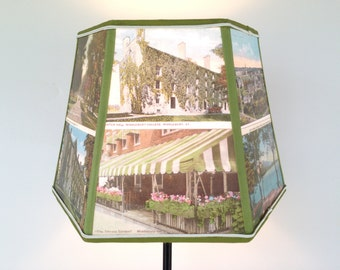 Middlebury College Lampshade Lamp Shade Postcard 7x10x7 Hex Clip- Graduation Gift - Desk Lampshade Made in Vermont
