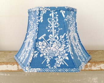 "Blue and White Uno Lamp Shade, Threaded Lampshade Hex Bell 7"" t x 12"" b x 8"" h, Vintage Fabric Shade, Sky Blue, Classic Style, Home Decor"
