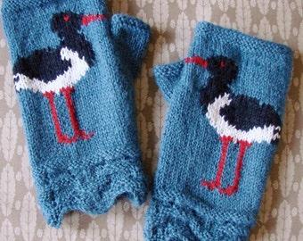 Oystercatcher fingerless gloves/mitts - hand knit in denim blue 100% alpaca