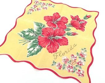 Vintage Florida handkerchief hankie hibiscus blossoms 1940s  mid century souvenirFloridiana original tag yellow red