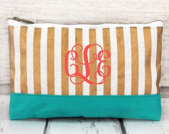 Gold, White, and Turquoise  Juco Cosmetic Bag , personalized makeup bag, monogrammed cosmetic bag, bridesmaid bag