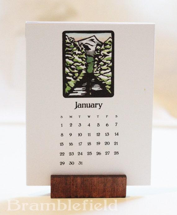 2017 Desk Calendar  Block Print Of The Month