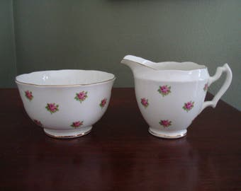 Slightly Imperfect RARE 1930s Roses Chintz Style Creamer and Sugar Bowl, Open Sugar, Pink Roses Chintz, Melba Bone China, Made in England