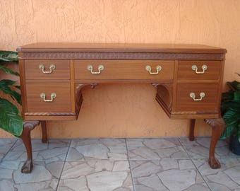 Nearly Antique 1920s or 1930s Chippendale Revival Mahogany Desk, Ball and Claw Feet, Carving, Carved, Elegant, Cherry Finish, Brass Pulls