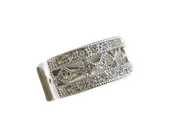 Clear Rhinestones Band Ring Vintage Silver Tone Setting in Size 10