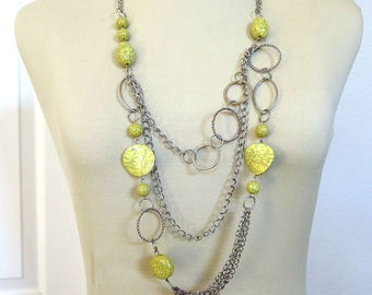 Modernist Lucite Beads Necklace Chains & Circles Vintage Yellow and Green