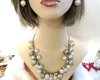 Caged Pearl Necklace and Dangle Earrings Set Vintage